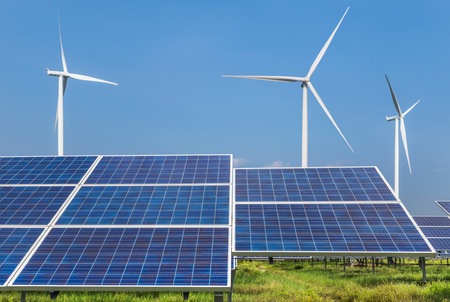 Photo pour photovoltaics  solar panels and wind turbines generating electricity in solar power station renewable energy from natural - image libre de droit