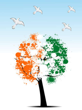 abstract, Tree leafs in national flag colors in orange, white and green with flying piegons for Republic Day