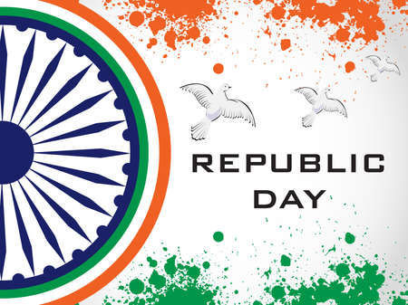 illustration of decorative Indian National Flag with flying pigeons on grunge background for Independence Day and Republic Day.
