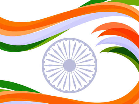 illustration of waves in Indian trio color with ashok wheel on white isolated background for Republic Day and Independence Day.