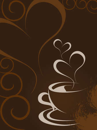 brown heart shape background with romantic coffee, vector