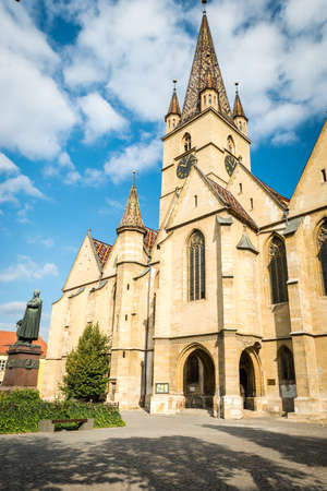 Sibiu, Romania - September 18, 2016: The Lutheran Cathedral of Saint Mary in Sibiu, Romania