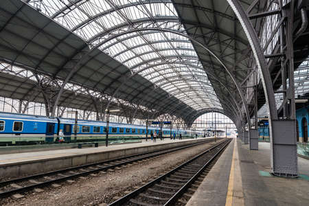 Prague, Czech Republic- March 05, 2018: Main and biggest railway station in Prague. Modern train station platform near the historical building in Prague, Czech Republic