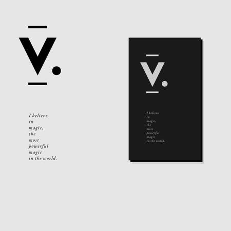 Letterhead and business card design with V monogram in minimal style