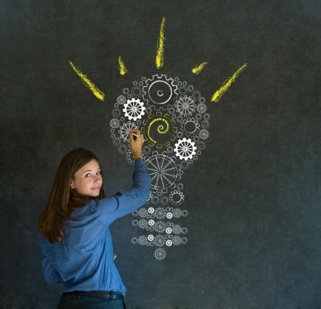 Bright idea gear cog lightbulb thinking business woman