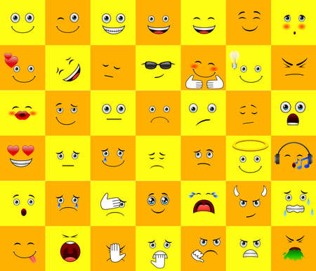Illustration for Emoticons or smileys with funny and happy facial expressions in yellow blank space background for text or presentation. - Royalty Free Image
