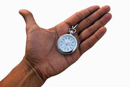 Human hand holding a pocket watch.