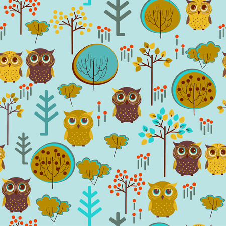 Blue And Yellow Owl Pattern