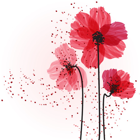 Illustration pour Stylized red flowers. Abstract floral background. - image libre de droit