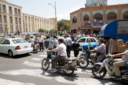 Traffic jams along the street in Tehran, Iran. More than 3 million vehicles are on the roads in the capital