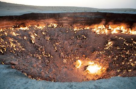 Door to Hell, Derweze, Turkmenistan. Door to Hell is a natural gas field in the Ahal Province.