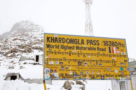 Khardung La Pass, 5602 m, in the Ladakh Region of the Indian state of Jammu and Kashmir