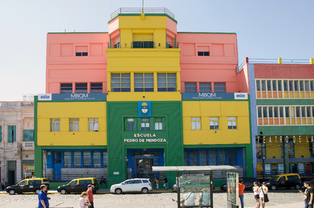 School at La Boca in Buenos Aires, Argentina. La Boca is a neighbourhood, barrio of Argentine capital, in Buenos Aires and its sits at the mouth, boca in Spanish, of the Matanza-Richuelo River