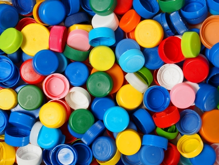 Photo for Waste plastic bottle caps ready for recycling - Royalty Free Image