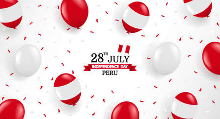 Illustration for Vector Illustration of Peru Independence Day. Background with balloons and confetti. - Royalty Free Image