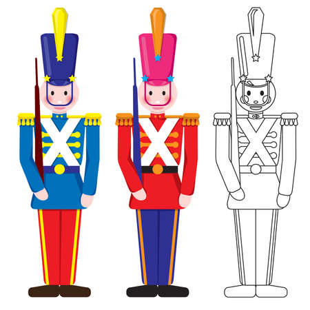 Vintage Happy Toy Soldier Blue, Red and Outline