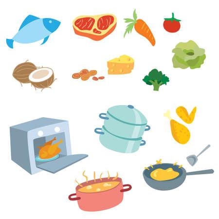 Illustration pour Cooking vector set include equipment, food, meat and vegetables - image libre de droit