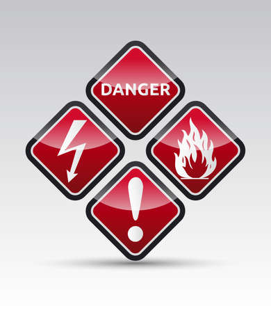 Isolated orange Danger sign collection with black border, reflection and shadow on white background