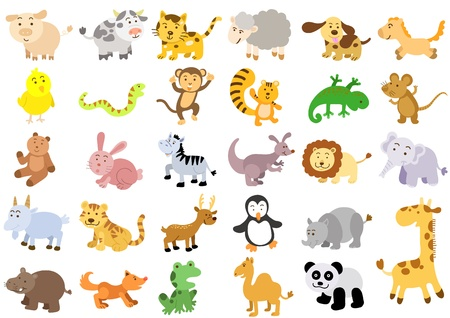 Extra large set of animals File - simple Gradients, no Effects, no mesh, no Transparencies All in separate group for easy editing