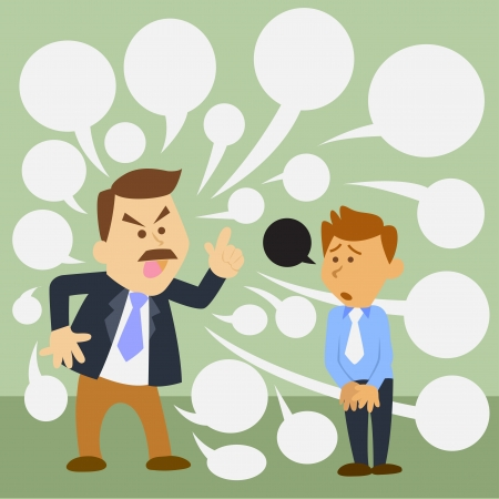 illustration of business man cartoon. angry boss
