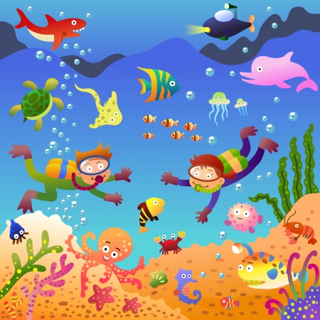 Under The Sea Cartoon Mural