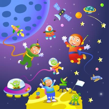 boy girl astronaut in space scenes