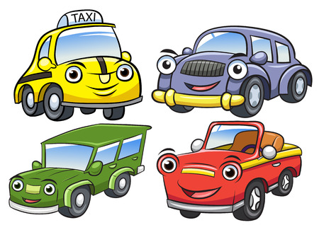 Vector illustration of cute cartoon car characters.EPS10 File simple Gradients