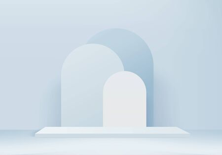 Illustration pour Background vector 3d blue rendering with podium and minimal blue wall scene, minimal abstract background 3d rendering abstract geometric shape blue pastel color. Stage for awards on website in modern. - image libre de droit