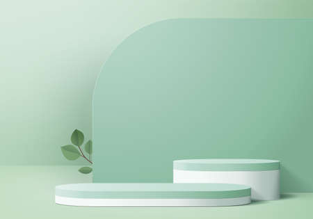 Illustration pour 3d display product abstract minimal scene with geometric podium platform. cylinder background vector 3d rendering with podium. stand for cosmetic products. Stage showcase on pedestal 3d green  studio - image libre de droit