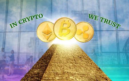 Foto de Cryptocurrency, secured chain, In god we trust concept - Imagen libre de derechos