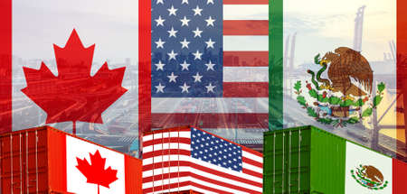 Photo pour Concept of USMCA or the new NAFTA United States Mexico Canada agreement, trade deal and economic dea - image libre de droit