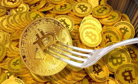 Foto de Concept of Bitcoin Cash Hardfork, Between Bitcoin ABC and nChain Developer, Cryptocurrency - Imagen libre de derechos
