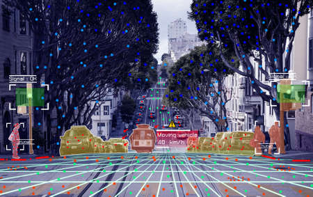Photo for Autonomous driving concept showing Lidar, Radar and Canemra sensor signal system, self-driving - Royalty Free Image