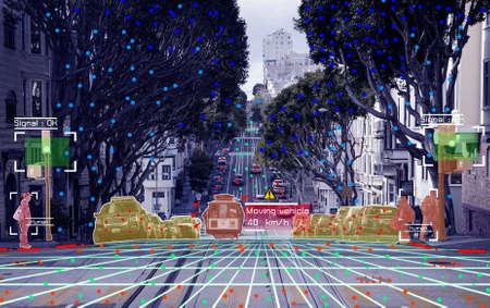 Photo pour Autonomous driving concept showing Lidar, Radar and Canemra sensor signal system, self-driving - image libre de droit