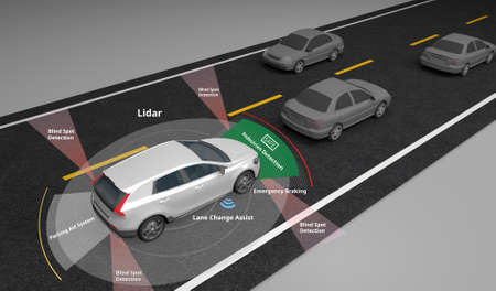 Foto de Autonomous self-driving electric car showing Lidar and Safety sensors use, 3d rendering. - Imagen libre de derechos