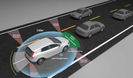 Photo pour Autonomous self-driving electric car showing Lidar and Safety sensors use, 3d rendering. - image libre de droit