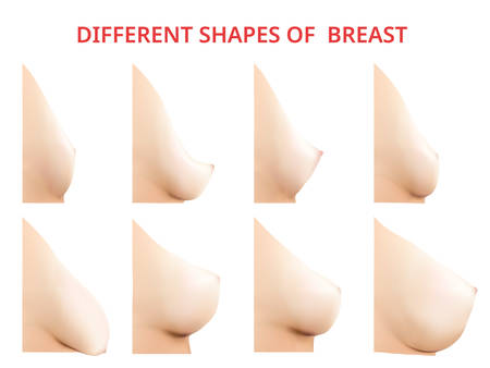 Ilustración de Different shapes of Breast, Women Breast, Vector illustration - Imagen libre de derechos