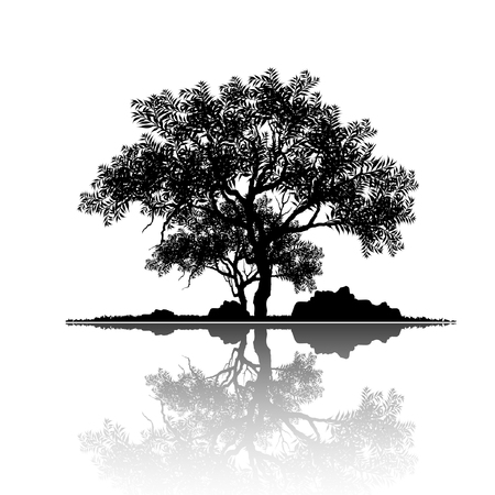 Illustration pour Vector of tree, silhouette icons on white background. tree flat icon for apps and websites. View of natural scenery, illustration. - image libre de droit