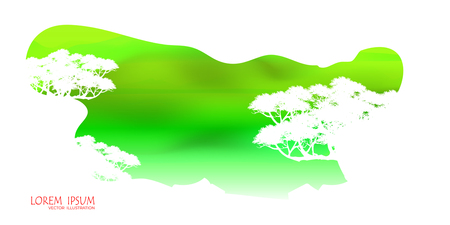 Illustration pour View of natural scenery, Beautiful Sky background, vector of realistic landscape for web. Black silhouette of trees and natural rocks on a colorful background. Illustration. - image libre de droit
