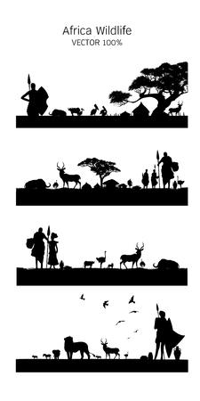 Illustration pour African Wildlife Background. Nature Background. African savanna landscape. safari card. vector. - image libre de droit