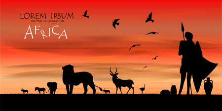 Illustration pour View of natural scenery, Beautiful Sky background, vector of realistic landscape for web. Black silhouette of animals, trees and natural on a colorful background. Illustration.African Wildlife Background. Natural Background. African savanna landscape. safari card. vector. - image libre de droit