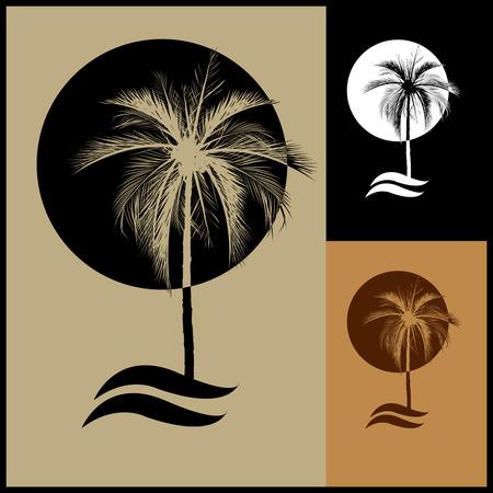 Illustration pour logo of  palm and coconut trees, Summer holidays design Labels, Badges,emblem,vector illustration, Vector illustration vintage style. - image libre de droit