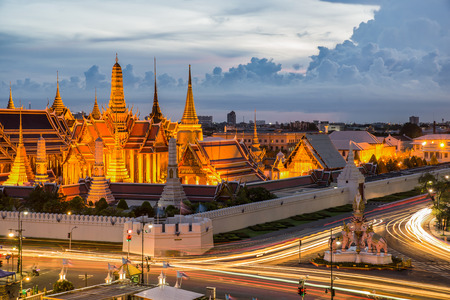 Grand palace at twilight with light from traffic in Bangkok, Thailand