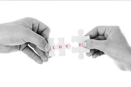 Photo pour Love concept - Jigsaw of love in Black & White color - image libre de droit