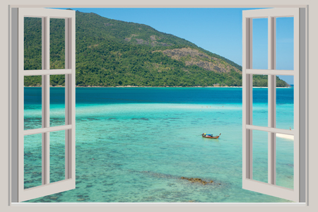 Photo for Summer, Travel, Vacation and Holiday concept - The open window, with sea views in Phuket ,Thailand. - Royalty Free Image
