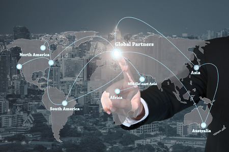 Photo pour Businessman working with virtual interface global partners graphic use for logistic,import,export background.Global partners network. - image libre de droit