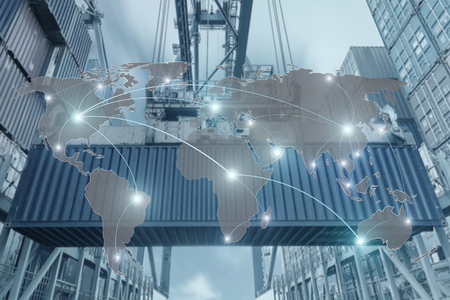 Photo pour Import, Export, Logistics concept - Map global partner connection of Container Cargo freight ship for Logistic Import Export background - image libre de droit