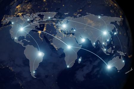 Photo pour Network connection technology concept - Network connection partnership and world map. - image libre de droit