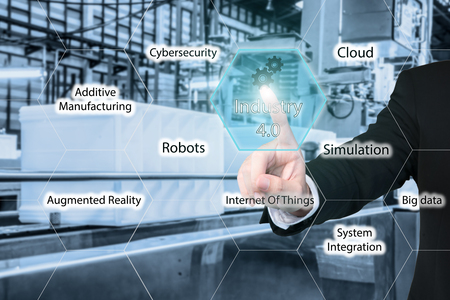Photo pour Business man touching industry 4.0 icon in virtual interface screen showing data of smart factory. Business industry 4.0 concept. - image libre de droit