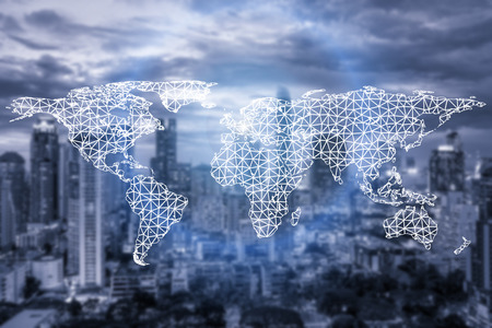 Photo for Network connection partnership and world map with city in background.Network connection technology concept - Royalty Free Image